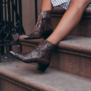 Rebecca Laurey Reptile Embossed Leather Boots